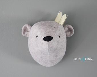Teddy Bear Faux Taxidermy wall decor bear head room nursery grey gray bear art