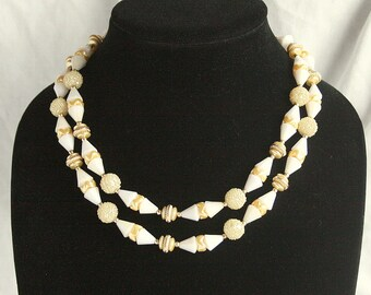 Vintage Art Deco Bead Necklace Vintage Deco Style Gold White Multi Strand Choker Mad Men