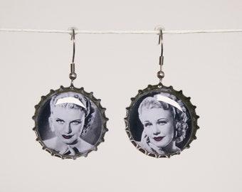 Earrings handmade GINGER ROGERS - resin - recycled art - cinema - stile vintage