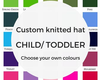 Custom CHILD/ TODDLER knitted hat child beanie toque personalised hat matching mum baby mothers day gift expecting mother dad baby gift