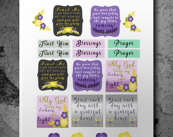 Bible Verse Stickers, Planner Stickers, Scripture Stickers, Bible Journaling, Christian Stickers, Bible Verse Decal, Happy Planner, Stickers