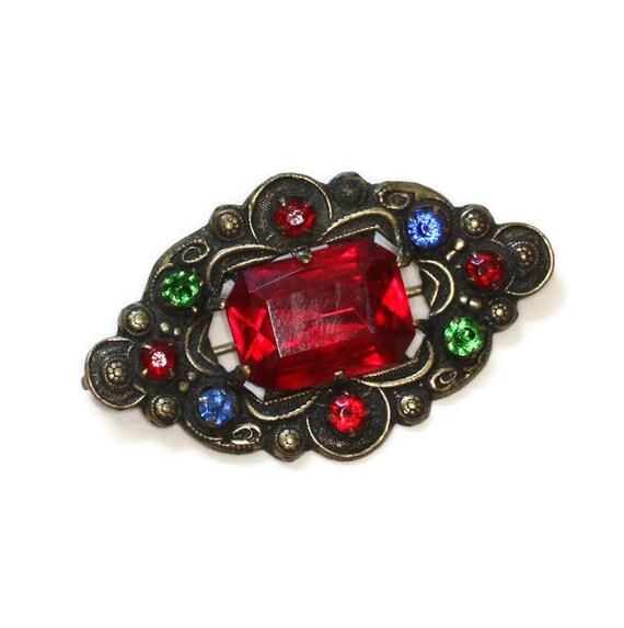Czech Rhinestone Pin Multi Color Red Green Blue Stones Vintage Brooch Stamped Diamond Shape
