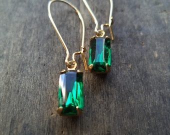 Vintage Earrings Glass Dangles Emerald Green Accessories Gift Idea For Her Under 15 minimalist