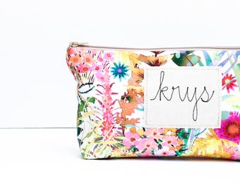Makeup Organizer, Cosmetic Bag, Best Friend Gift, Personalized Makeup Bag, Make up Bag, Birthday Gift for Her, Floral, Friendship Gift