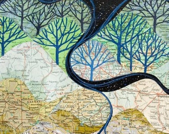GRANDES rivières le savoir impression d'art, carte collage des montagnes, rivières et ciel étoilé