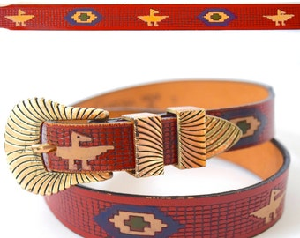 Vintage 70s 80s Tooled and Painted Southwestern Red Leather Belt
