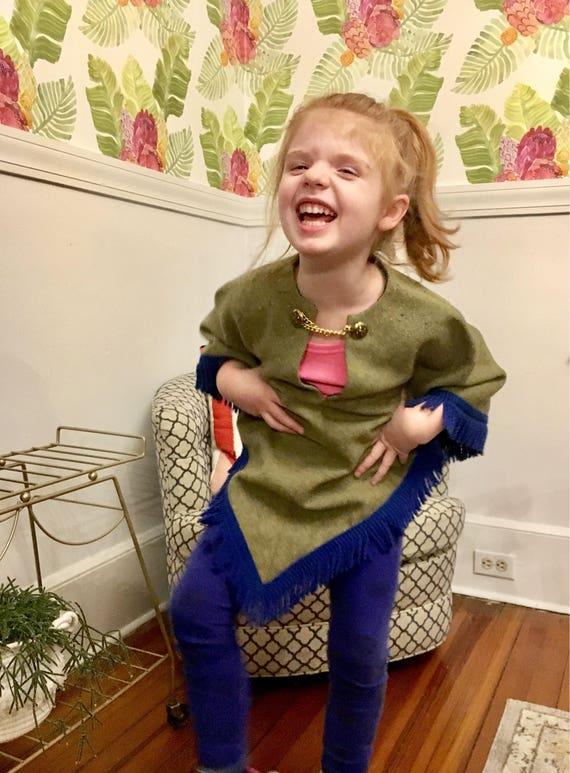 Vintage Little Girl's Wool, Cotton + Yarn Fringe Poncho - Children's Size 7-8 - Blue + Green Poncho