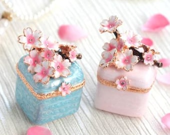 Beautiful Sprig cherry tree mini Jewelry Box,jewelry case,present,ring case,white blue SAKURA, With a beautiful gift box