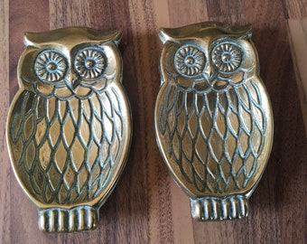 2 brass owl spoon rests