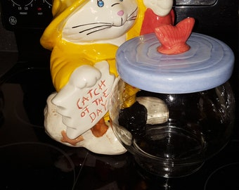 Oldie Large Cat Cookie Jar Catch Of The Day By Treasure Craft