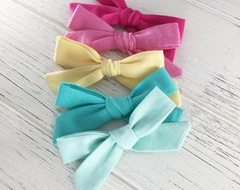 Hand Tied Baby Bow, Hand Tied Schoolgirl Bow, Bright Fabric Bow Headband, Pigtail hair clips, Baby Mini Bows, summer hair bows, hair clips