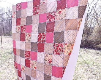Rag Quilt - Queen Quilt - Cottage Chic Floral Quilt - maroon red, sage green, ecru, dusty pink - Gift For Her