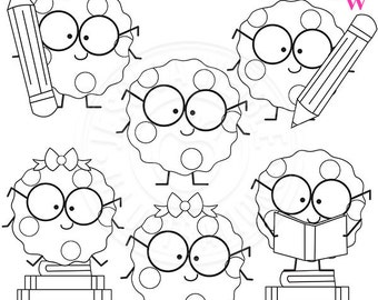 Smart Cookie Cute Digital Stamps, Cookie with Glasses Clipart, School Clipart, School Clip art, Cookie Line Art, Reading Graphics, Smart