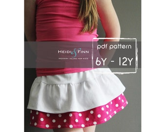 Tennis skort pattern and tutorial PDF 6y-12y easy sew skirt shorts uniform