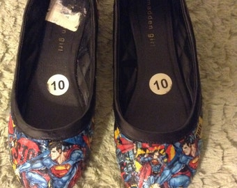 Superman Steve Madden Repurposed Decopauge Flat Dress Shoes Women's Size 10