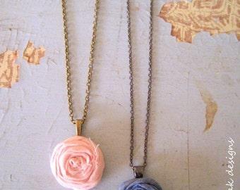 Single Rosette Necklace, Rosette Necklace, Rosette Jewelry, Boho Necklace, Long Necklace, Fabric Necklace, Fabric Jewelry, Textile Jewelry