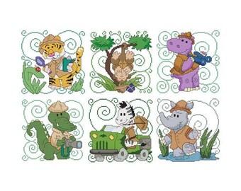 Safari Animals Combo Counted Cross Stitch PDF Pattern