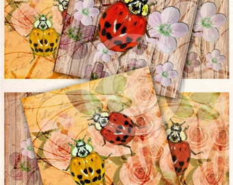 Rustic ladybugs digital collage sheet 4x4 inch images instant download and printable for art and craft, scrapbooking, coasters