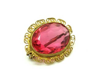 Antique Pink Glass Brooch | Antique Brooch | Edwardian Brooch |  Brooch Pin | Pink Brooch | Glass Brooch | Filigree Brooch | Pink Pin