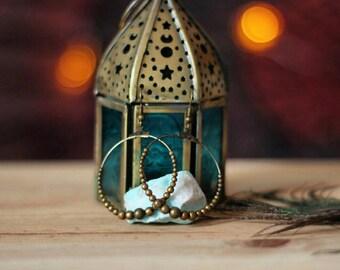 Bohemian Hoop Earrings with Brass Beads · Elegant Gypsy Ethnic earrings ·
