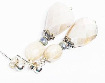 Moonstone and Sapphire Gemstone, Sterling Silver Dangle Drop Earrings, Cream Blue Earrings, Moonstone Post Earrings, Free Ship, E18040