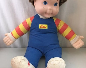 Vintage 1991 My Buddy boy doll brown hair blue eyes overalls