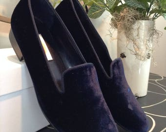 Vintage Navy Velveteen Loafers by Talbots, 90s, Sz 7M