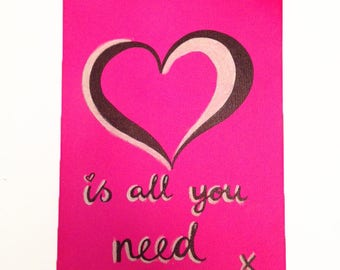Valentines 'Love is all you need' canvas