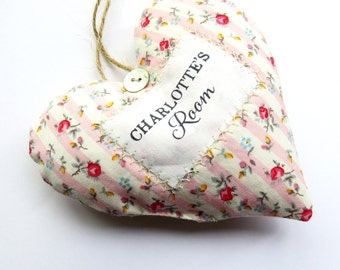 Children's Room Sign - Personalised Fabric Heart Made in Your Choice of Fabric. Supplied Gift Box