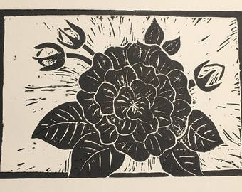 Linoleum Block Print - Rose