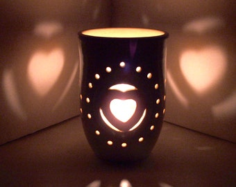Ceramic Luminary/Candle Holder,Wheel Thrown, Hand Carved Heart