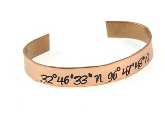 GPS Map Coordinates Latitude Longitude Engraved Cuff - Personalized in Nu Gold Copper or Aluminum - Wedding, Couples Perfect for Gifts