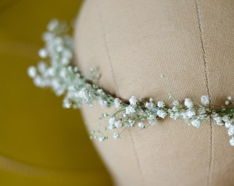 Babys Breath Flower Crown / Halo / Hair Wreath with Real Dried Flowers - for Bride Bridal Wedding Party Engagement - Thinner Version