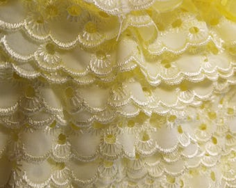 """2"""" Eyelet ruffled in yellow  for baby couture, bedding, blankets, decor 36 yards"""