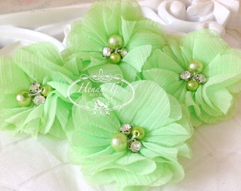 NEW: 4 pcs Aubrey CELERY GREEN  - Soft Chiffon with pearls and rhinestones Layered Small Fabric Flowers, Hair accessories