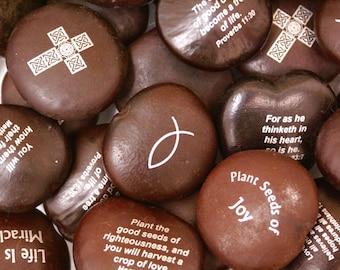 Imprinted Sea Beans - Christian Scripture