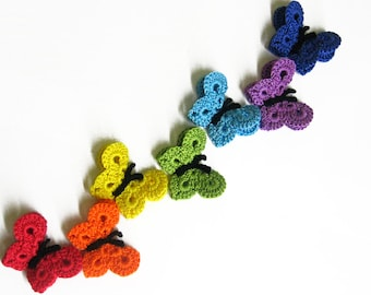 Crocheted Butterfly Appliques Handmade 7 pieces rainbow mix or choose your color