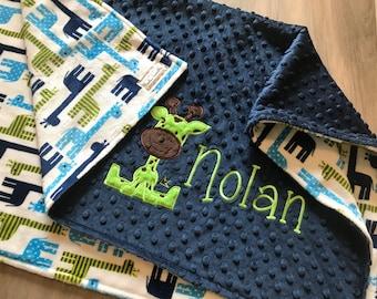 Giraffe Boys Double sided Minky Baby Blanket