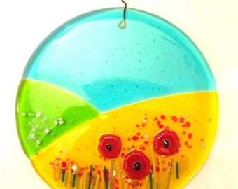 Poppies in the Corn - Small Fused Glass Hanging Panel