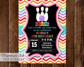 Bowling Invitation, Bowling Party Invite, Rainbow Bowling Invitation, Chevron Invitation, Bowling Birthday Party Invitation, DIY, Printable