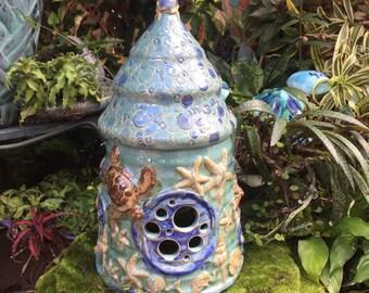 Océan de céramique fée - sirène fée jardin maison - Faery maison - fabriqués à la main de fée maison - Gnome - crapaud demeure - fée Miniature
