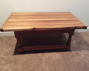 Zebra wood coffee table with mortise and tenion base.