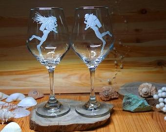 Pair of Scuba Diver Wine Glasses, scuba diver gift, Scuba Diver Wine Glass Gift, Scuba Dive Wine Glass, Gifts For Scuba Divers, Scuba Gifts