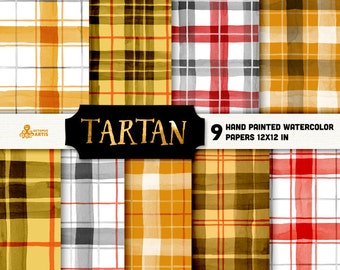 Tartan. 9 Watercolor papers. Digital, scottish plaid, brush, background, yellow, red, black, christmas, gift wrapper, winter, checkered, diy
