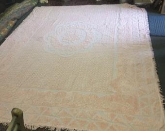 Large Vintage Plush Pink Chenille Bedspread.
