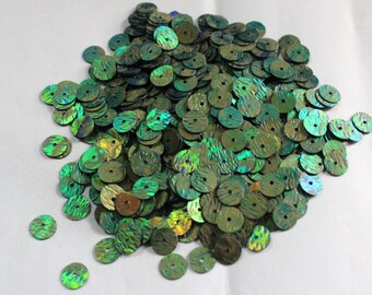 100 Metallic Green Color/Round Sequins /3D Lines Texture/ KRS653