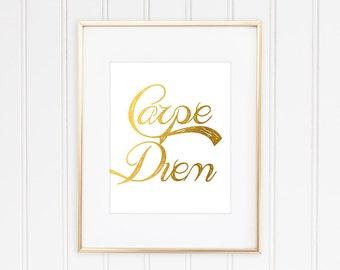 Carpe Diem Print, Faux Gold Foil, Faux Gold Leaf Art, Inspirational Quote, Typographic Print, Modern Home Decor, Gold Quote,  Art, Framed