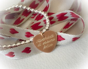 Entirely in 925 silver bracelet with silver heart pendant engraved by hand