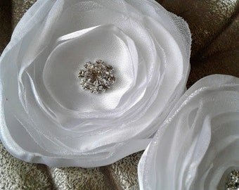 "White Fabric Flowers, 3"" Satin Fabric Flowers, Singed Satin Flowers,  Satin Flower Headband, Satin Singed Flowers, Flower Girl Flowers"