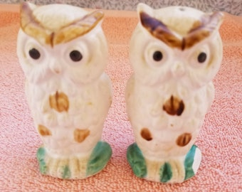 "Vintage Owl Salt And Pepper Shakers Japan - 3.5"" Tall"